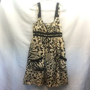 MINKPINK Size L Tan/Black Animal Print Midi Dress